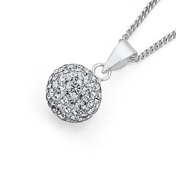Sterling Silver 10mm Crystal Ball Pendant