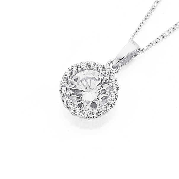 Sterling Silver Cubic Zirconia Round Cluster Pendant