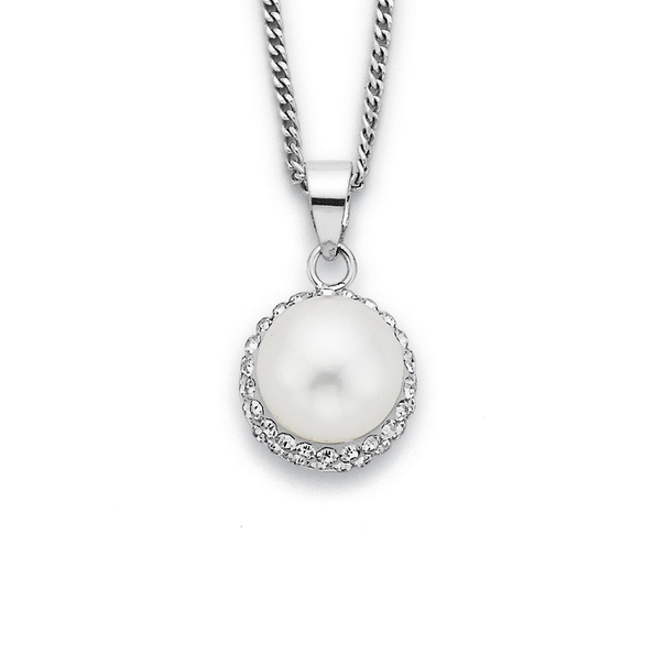 Sterling Silver Freshwater Pearl & Crystal Pendant