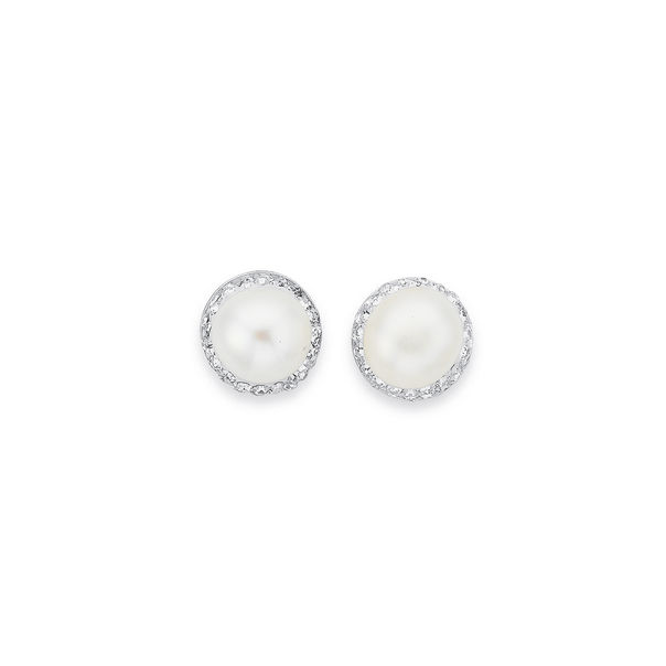 Sterling Silver Freshwater Pearl & Crystal Studs