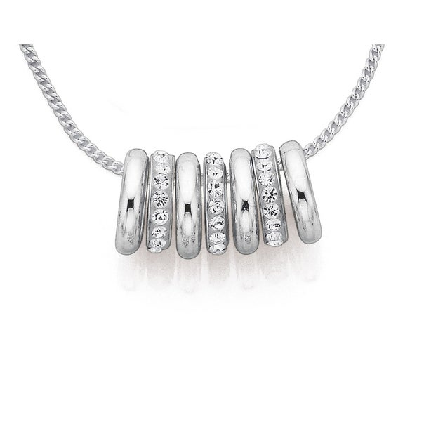 Sterling Silver Plain & Crystal 7 Lucky Rings Necklet